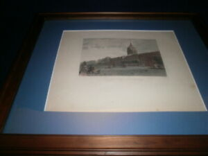 "1837 Hand Colored Engraving "" Royal Palace Charlottenburg "" - Matted and Framed"
