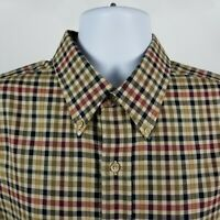 Viyella Mens Black Brown Red Plaid Check Wool Blend Dress Button Shirt Sz XL
