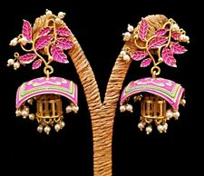 Gehna Party Wear Meenakari Floral Hanging Design Earrings Gold Plated Jewelry BC