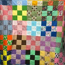 Vintage Unfinished Color Block Quilt Fabric Squares Rainbow Cottage Farmhouse