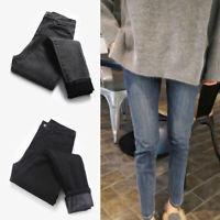 Women Warm Fleece Lined Denim Jeans Thermal Winter Leggings Jeggings Pants Wear