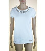 T-Shirt Maglietta Donna PINKO SA666 Bianco con Gioiello Tg XS S M L
