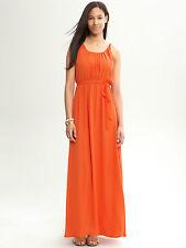 Banana Republic Orange Tie Waist Chiffon Patio Dress SIZE 2 UK 10 MAXI DRESS