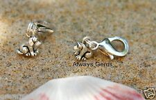 Cute and tiny puppy dog silver tone Clip on charm,zipper pull charm new p2