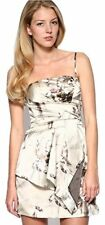 Womens Karen Millen Silk JEWEL Print Strapless Party Dress Champagne Size 12 40