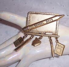 Teacher School Blackboard Dangling Charms Fashion Scarf Pin-Brooch - Gold Tone