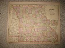 ANTIQUE 1890 MISSOURI IOWA RAILROAD DATED MAP POPULATION ST LOUIS DAVENPORT FINE