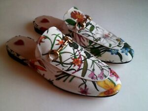 GUCCI Woman's White Princetown Canvas Loafer/Slipper w/ Floral Print Size 7 (US)