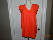 Worthington Womens Size M Orange Ruffle Short Sleeve Stretch Blouse