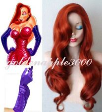 Jessica Rabbit Long Wavy Copper Red Cosplay Wig + Free Purple Gloves