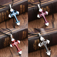 Fashion Unisex Stainless Steel Cross Pendant Men's Necklace Chain Jewelry Gift