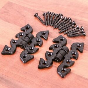 Black Antique Iron Fancy unequal Butterfly Hinges 4 pairs