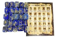 Lapis Lazuli Rune Sets Elder Futhrak Set comes with black Pouch and rune card