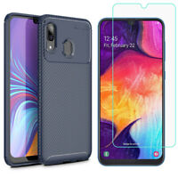 For Samsung Galaxy A20,Schockproof Slim Carbon Fibre Matte Back Case Cover+Film