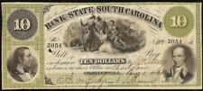 1861 $10 DOLLAR BILL SOUTH CAROLINA BANK NOTE LARGE CURRENCY OLD PAPER MONEY VF