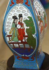 CHINA EXPORT CLOISONNÉ ENAMEL GUILLOCHE FEMALES RIVER SCENERY w ORIGINAL STAND