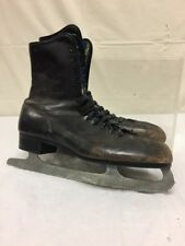 Vintage Mens Black Leather Ice Skates Sz 11