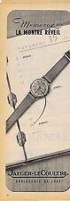 PUBLICITE ADVERTISING 015 1951 JAEGER-LECOULTRE montre réveil