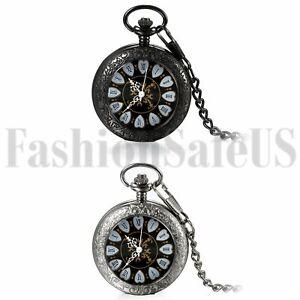 Men Women Vintage Carving Steampunk Skeleton Mechanical Pocket Watch Chain Gift