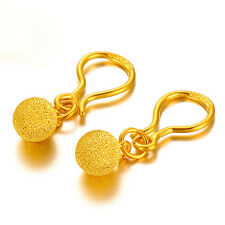 Solid 24K Yellow Gold Lovely Ball Dangle Earrings