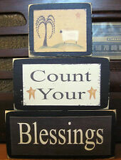 Count Your Blessings Country Primitive Rustic Stacking Blocks Wooden Sign Set
