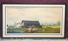 "1974 Original Mixed Media Painting  Gerald V. Lilly ""Faded Memories"" 12"" x 24"""