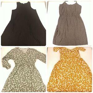 Lot 4 Size Large Old Navy Dresses Floral Pattern Light Summer Black Brown Green