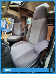 2 Stück Wohnmobil Sitzbezüge Schonbezüge Fahrer und Beifahrer 822 Grau- Grau
