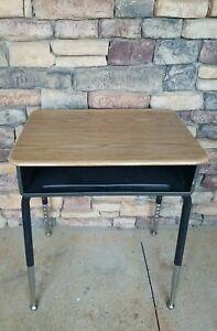 School Student Study Homeschooling Wood Top Desk w/ Adjustable Metal Legs +Cubby