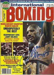 Marvelous Marvin Hagler signed 1981 Boxing Magazine HOF World Middleweight Champ