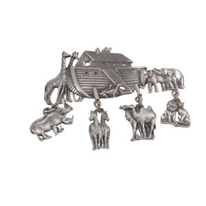 Vintage JJ Jonette signed Gray Pewter Noah's Ark Animal Charms Brooch Pin