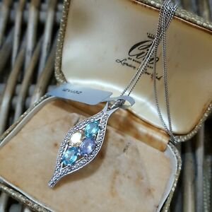 Gemporia Multi Gemstones Sterling Silver Necklace Pendant, Tanzanite, Apatite