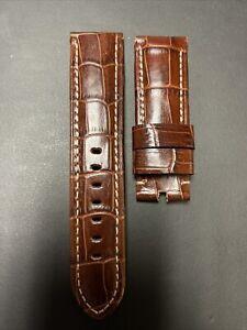 Panerai Rich Brown Alligator OEM Strap 24mm Lug for Tang Buckle