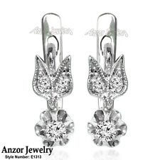 Russian Style Diamond Earrings in 14k Solid White Gold #E1313