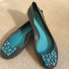 45101c84f698 Oka B Ballet Jelly Flats Shoes Gray Faux Turquoise Aqua Stones Size 7  Okabashi