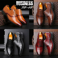 Men's British Crocodile Leather Dress Casual Shoes Business Formal Oxfords Shoes