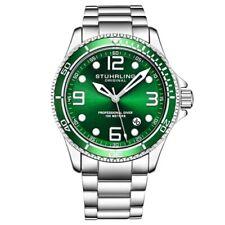 Stuhrling 3930 3 Aquadiver Date Green Dial Stainless Steel Bracelet Mens Watch