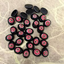 N133 Vintage Czech 8x6mm black, red & white oval millefiori glass cabochons (36)