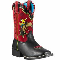 ARIAT Kids Square Toe Buckaroo Blaze Black Red Cowboy Leather Boots 10011905 NIB