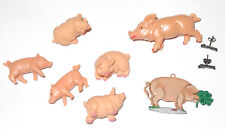 kleine Schweine Sammlung Plastik, Zinn und Silber Ohrstecker