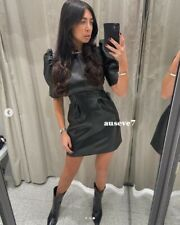 BNWT FAUX LEATHER DRESS Black Size S UK 8 10