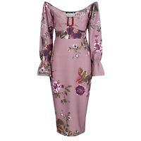 Vintage Style Off Shoulder D. Pink Floral Print Trumpet Sleeve Wiggle Dress BNWT