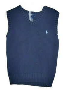 Polo By Ralph Lauren Boy's Sweater Vest Solid Blue Size 6 With Logo V-Neck
