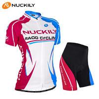 Women Team Riding Cycling Wear Short Sleeve Bike Bicycle Shirt Jersey Shorts Set