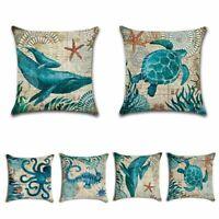 Marine Nautical Ocean Animal Sea Life Throw Pillow Case Sofa Cushion Cover Decor