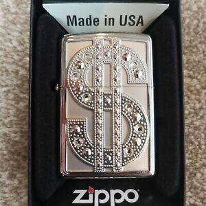 Zippo Lighter Genuine Diamonds Dollar Bling Bling Lighter
