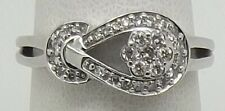 SOLID 10CT WHITE GOLD NATURAL DIAMOND DRESS RING - SIZE O