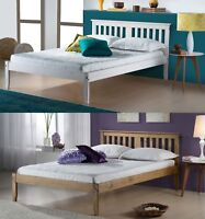 Rojan Bed Frame - Wooden - Waxed Pine or White Wash, Single Small Double
