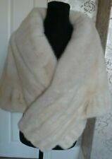 Large Blonde Ivory Mink Stole Wrap Shawl Cape Real Fur Bolero Jacket Bridal