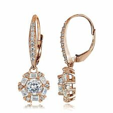 14K ROSE GOLD & SS 4 CTW LCS DIAMOND  ROUND & BAGUETTE HALO LEVERBACK EARRINGS